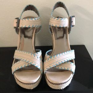 Reba cream and sky blue wedges